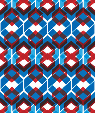 visual effect: Colorful stylized symmetric endless pattern, transparent continuous creative artificial composition, geometric motif background with overlapping figures. Visual effect, op art.