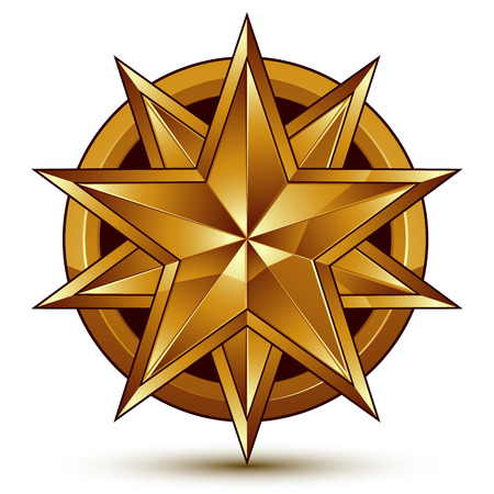 Geometric vector classic golden element isolated on white backdrop, dimensional decorative star shaped blazon.