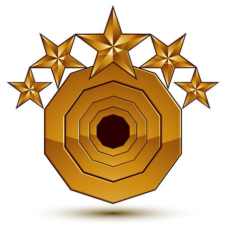 sophisticated: 3d vector classic royal symbol, sophisticated golden round emblem with 5 stars isolated on white background, glossy aurum element.