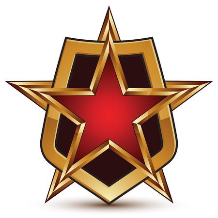 glorioso: Vector glorioso elemento brilhante design, luxo golden star 3d e proteger composi