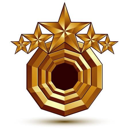 estrellas cinco puntas: Her�ldico icono brillante 3D se puede utilizar en dise�o web y gr�fico, estrellas de oro de cinco puntas, EPS claros 8 vector.