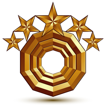 aurum: Wonderful vector template with 5 golden stars, rounded symbol, best for use in web and graphic design. Heraldic icon, clear eps8 vector.