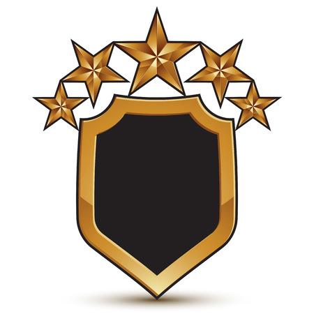 branded: Festive vector golden shield emblem with five stars, 3d branded pentagonal design element, clear EPS 8. Illustration