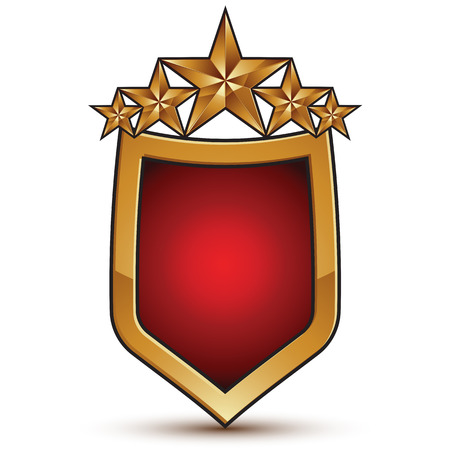 glorious: Vector glorious glossy design element, shield symbol with five luxury 3d golden stars, conceptual graphic template, clear EPS 8.