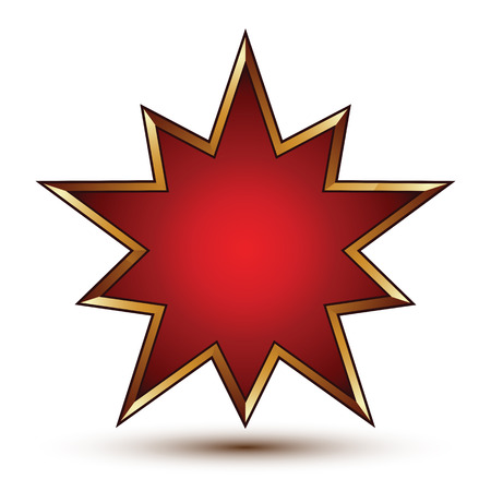 signet: Vector glorious glossy design element, luxury 3d golden signet, conceptual graphic template, clear EPS 8. Red decorative star shaped element.
