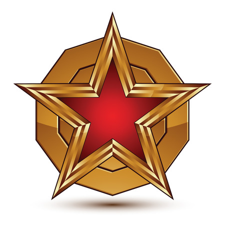 aurum: Vector stylized symbol isolated on white background.  Glamorous red star with golden outline, clear EPS 8, round refined insignia.