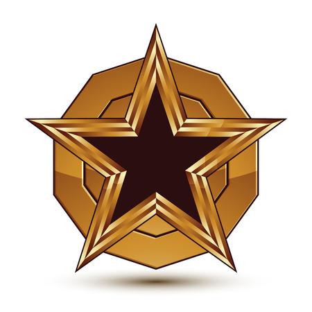 signet: Plantilla vector her�ldico con estrella pentagonal negro con el esquema de oro, dimensional refinado sello cl�sico geom�trico aislado en fondo blanco.