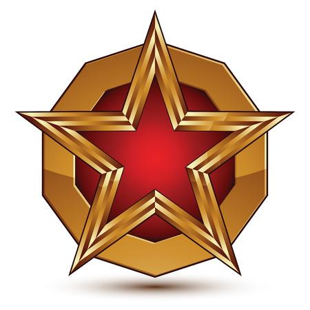 glorioso: Vector glorioso elemento de design brilhante, luxo estrela vermelha 3d com contorno dourado colocado em uma superf�cie arredondada, modelo gr�fico conceitual, EPS 8 claras. Ilustra��o