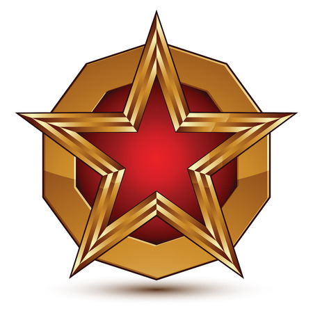 aurum: Vector glorious glossy design element, luxury 3d red star with golden outline placed on a rounded surface, conceptual graphic template, clear EPS 8.