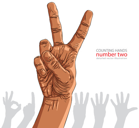 ethnicity: Numbers hand signs set, number two, African ethnicity, detailed vector illustration.