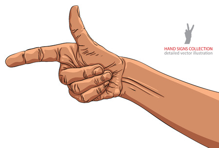 Finger pointing hand, African ethnicity, detailed vector illustration, hand sign, hand drawn. Vector