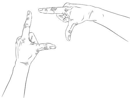 viewport: Hands shaped in viewfinder, detailed black and white lines vector illustration, hand drawn. Illustration