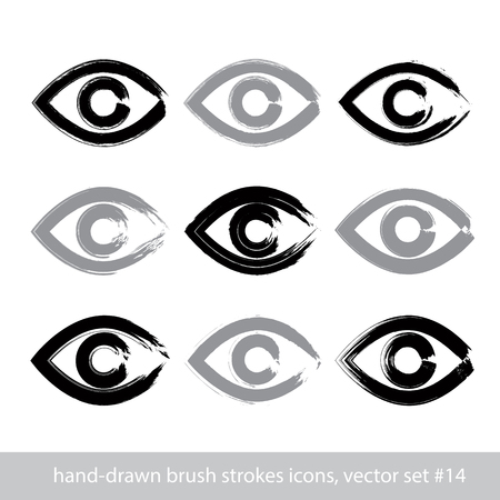 lens brush: Set of hand-drawn stroke human eye icons, collection of brush drawing monochrome medicine signs, hand-painted eyes isolated on white background.