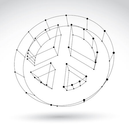 eps 8: 3d mesh monochrome web peace icon isolated on white background, black and white peace symbol from 60s, dimensional tech circle hippy object, clear eps 8 vector illustration. Illustration