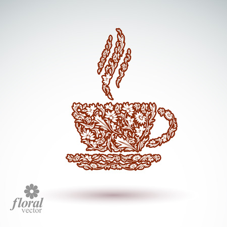 rendezvous: Flower-patterned cup of coffee with aromatic steam. Rendezvous theme floral illustration.