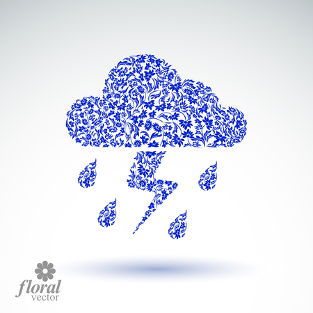 thunder cloud: Thunder and lightning vector meteorology pictogram. Weather forecast flower-patterned marking – stylized weather conditions symbol. Storm cloud with falling drops of rain.