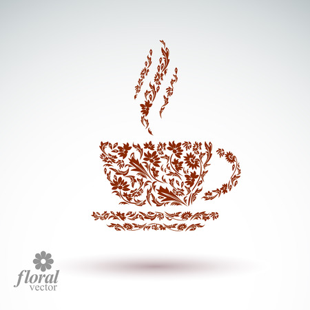 Flower-patterned cup of coffee with aromatic steam. Rendezvous theme floral illustration. Vector