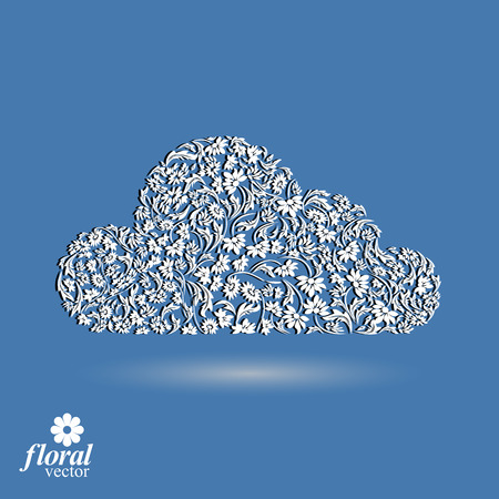 gloomy: Climate conditions conceptual icon, flower-patterned gloomy cloud. Weather forecast graphic pictogram, best for use in web design. Illustration