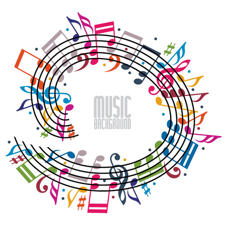 Colorful music background with clef and notes, music sheet in rounded frame, musical theme template for your design. Illustration