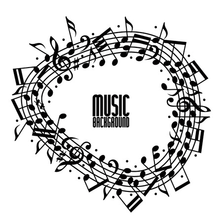notation: Vector black rounded stave with musical notes on white background, decorative musical notation.