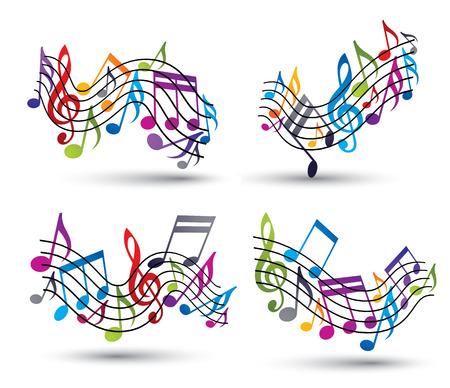 明るく陽気なベクトル五線記譜法シンボルの装飾的な主要な波状セット ホワイト バック グラウンド上の音符を。