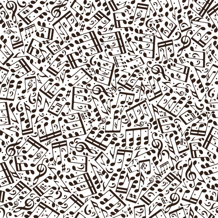 clefs: Vector brown monochromatic seamless pattern with musical notes and treble clefs on white background. Illustration
