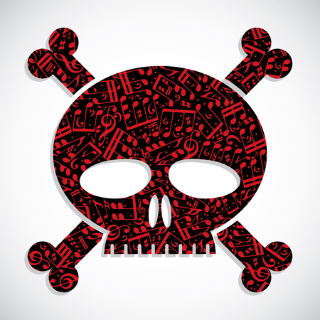watch out: Decorative colorful vector skull filled with musical notes, keep out symbol.