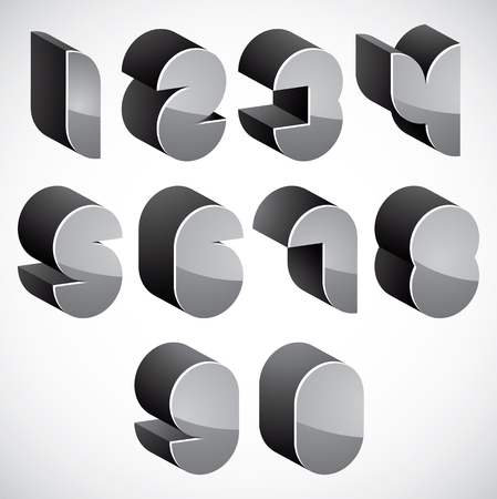 numerals: 3d futuristic numbers set, monochrome glossy numerals for advertising and web design.
