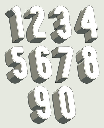 numerals: 3d numbers set, monochrome numerals for advertising and web design.