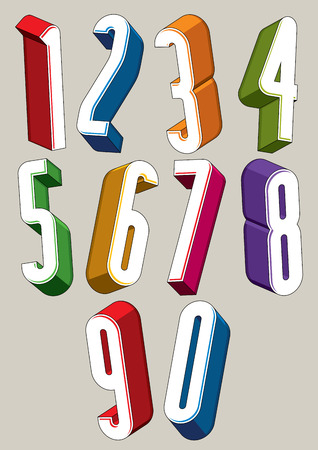 big five: 3d extra tall numbers set made with round shapes, colorful numerals for advertising and web design. Illustration