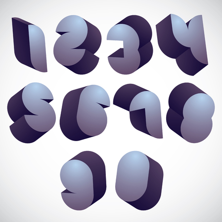 3d futuristic numbers set, monochrome glossy numerals for advertising and web design.