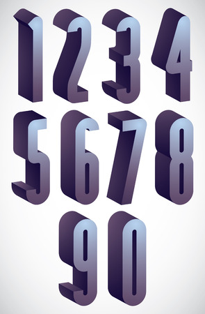 tall: 3d tall condensed numbers set, monochrome glossy numerals for advertising and web design.