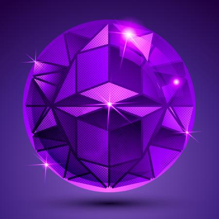 glisten: Фиолетовый пунктирная пластиковые внеочередное сферический объект со вспышками, блестят пьяный шар, созданный из геометрических элементов. Иллюстрация