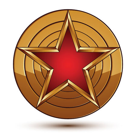 Glamorous vector template with pentagonal red star symbol with golden outline placed on a rounded surface. Conceptual heraldic icon, clear eps8 vector.