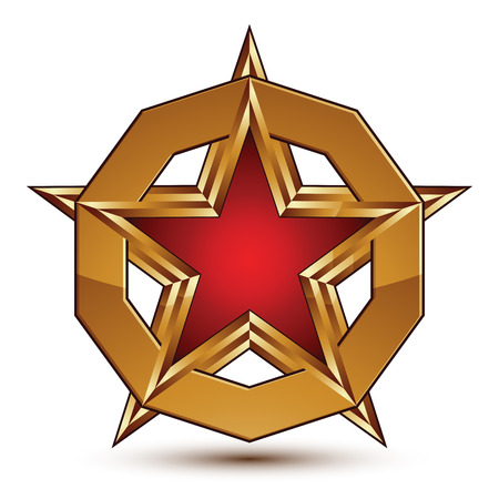 aurum: Branded golden geometric symbol, stylized red star with golden borders placed in a glamorous ring, best for use in web and graphic design, refined vector icon isolated on white background.