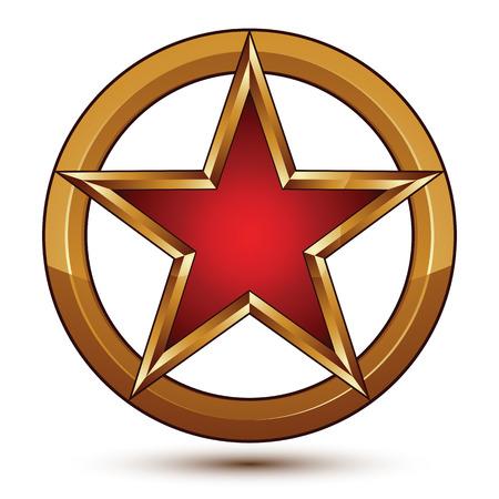 Refined vector red star emblem with golden borders, 3d pentagonal design element, clear EPS 8. 3d golden ring with pentagonal star element, polished glossy signet.
