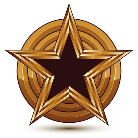 signet: Vector plantilla refinado con pentagonal s�mbolo de la estrella negro con bordes de oro colocados en una superficie redonda. Sello conceptual, claro elemento de celebridad eps8 vector. Vectores