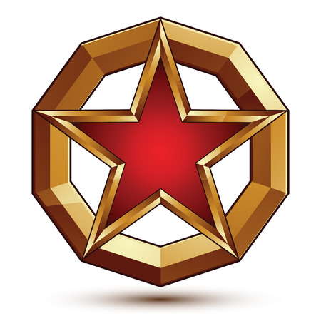 Polished vector template with pentagonal star, dimensional royal geometric signet isolated on white background. Celebrity star with red filling and golden borders placed in a glossy ring.