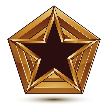 Branded golden geometric symbol, stylized star with black filling, heraldic vector refined icon isolated on white background. Polished golden frame with a pentagonal star.