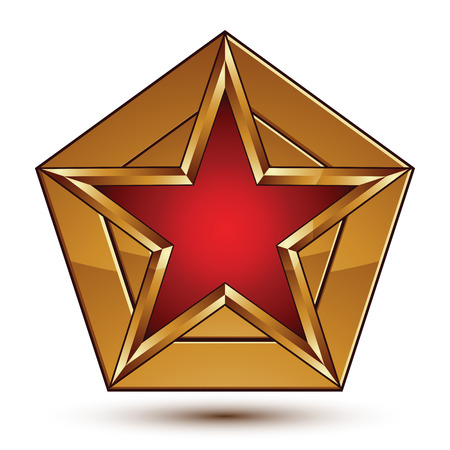 Glamorous vector template with pentagonal red star with golden borders placed on a polygonal object, graphic design element. Conceptual decorative icon, clear eps8 vector seal.