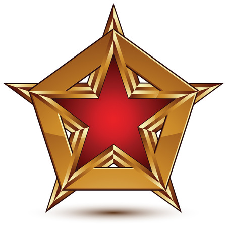 attribute: Glamorous vector template with pentagonal red star with golden outline placed on a polygonal object, graphic design attribute. Conceptual decorative icon, clear eps8 vector seal.