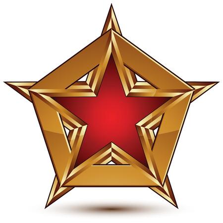 attribute: Glamoureuze vector sjabloon met vijfhoekige rode ster met gouden schets geplaatst op een veelhoekig object, grafisch attribuut ontwerp. Conceptuele decoratieve pictogram, duidelijk eps8 vector zegel.