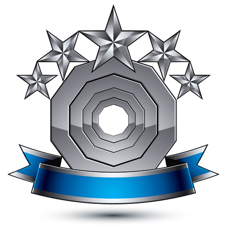 awarded: Glamorous vector template with pentagonal silver stars symbol, best for use in web and graphic design. Conceptual heraldic icon with wonderful smooth strip, clear eps8 vector.