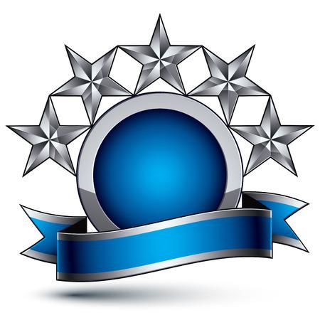 glorioso: Vector glorioso elemento brilhante design, luxo 3d estrelas de prata pentagonais, modelo gr�fico complicado conceptual com tira festivo, EPS claras 8 decorativo medalh�o.