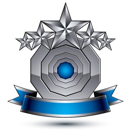 estrellas cinco puntas: Plantilla vector her�ldico con estrellas de plata de cinco puntas, dimensiones medall�n geom�trico real con la cinta ondulada elegante azul sobre fondo blanco. Vectores