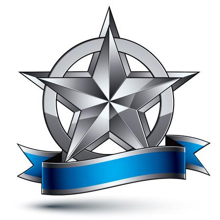glorioso: Vector glorioso elemento brilhante design, luxo 3d pentagonal estrela de prata, modelo gr
