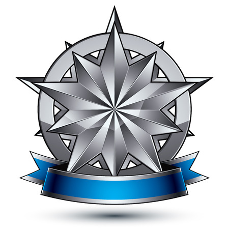 argent: Glamorous vector template with polygonal silver star symbol, best for use in web and graphic design. Conceptual heraldic icon with wonderful smooth strip, clear eps8 vector.