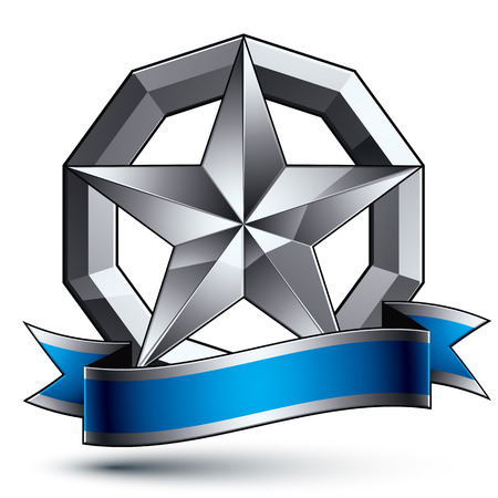 argent: Vector glorious glossy design element, luxury 3d pentagonal silver star, conceptual complicated graphic template with festive strip, clear EPS 8 decorative medallion. Illustration