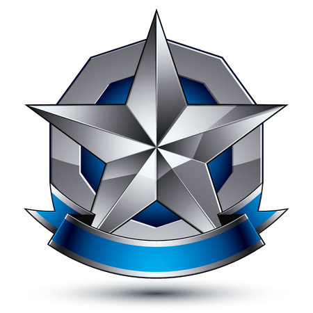 Glamorous vector template with pentagonal silver star symbol, best for use in web and graphic design. Conceptual heraldic icon with wonderful smooth strip, clear eps8 vector. Illustration