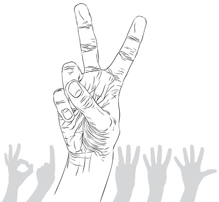 hand signs: Numbers hand signs set, number two, detailed black and white lines vector illustration, hand drawn.